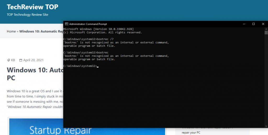 bootrec Windows command