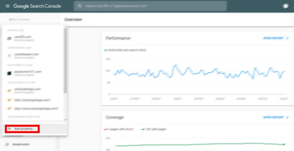 Google search console add property