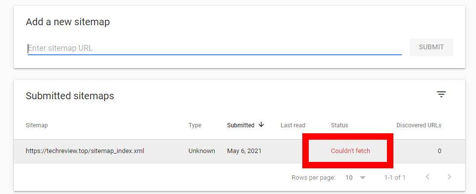 sitemap error Google