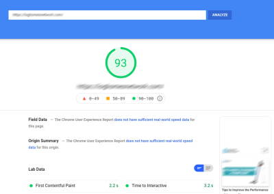 Site speed measured using Google PageSpeed Insights
