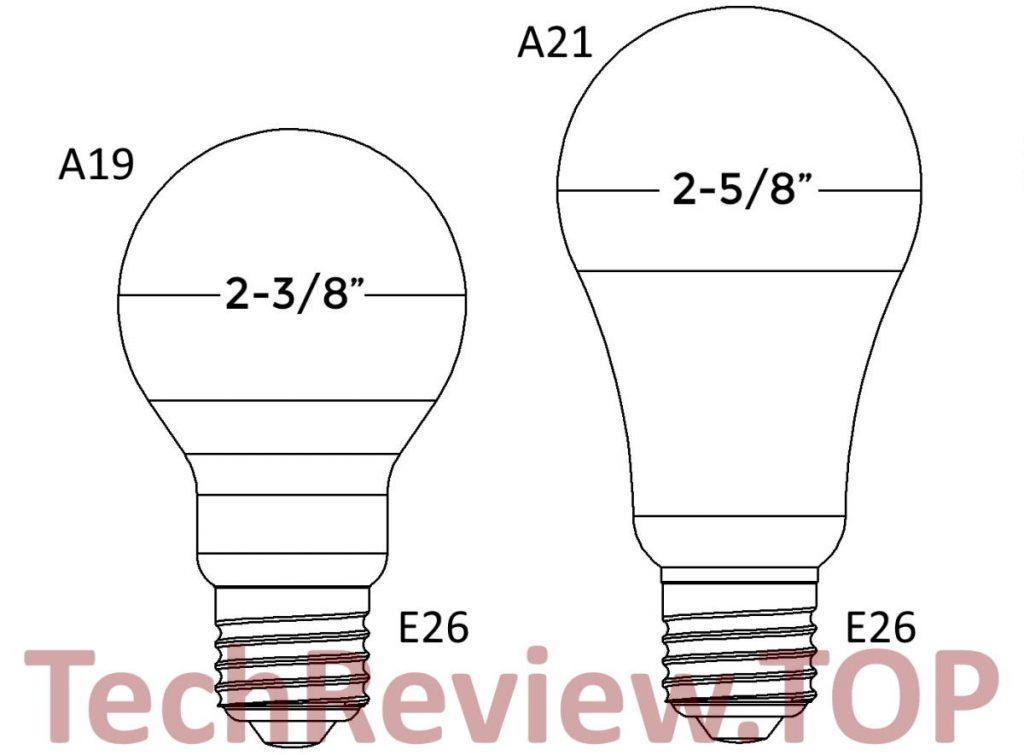 Compare A19 vs A21 light bulb difference